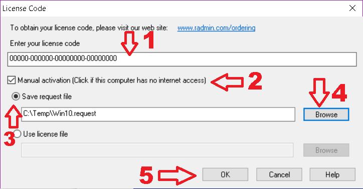 Quando você está em um PC sem acesso à Internet, onde o Radmin Server 3 está instalado.